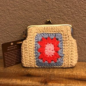 PATRICIA Nash leather/crochet coin purse NEW